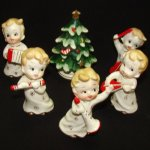 Vintage Lefton Christmas Tree & Boy Musical Instruments