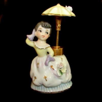 Vintage Lady Perfume Bottle Girl w Umbrella Atomizer