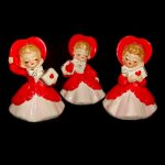 3 Vintage Lefton Valentine Girl Figuries with Hearts