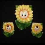 3 Vintage PY Japan Sunflower Girl Wall Pocket Flower Planters