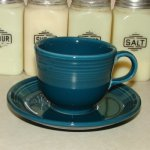 '99 Vintage Fiesta Juniper Flawless Coffee or Tea Cup & Saucer