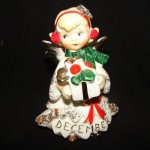 Lefton December Birthday Angel Girl Figurine w Rhinestones