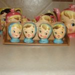Vintage Napco Miss Cutie Pie Spice Set w Rack - Blue