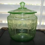 Vintage Princess Green Depression Glass Cookie Jar