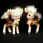 Rare Vintage Napco Reindeer Girl Boy Figurine with Fur and Bell