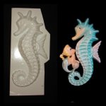"Plastic Mold - Large 12"" Seahorse Wall Plaque - facing left"