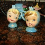 Vintage Napco Miss Cutie Pie Salt & Pepper Shakers - Blue