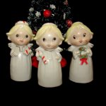 Vintage Christmas Angel Girl Bells candycane wreath gift & Tree