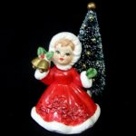 Vintage Lefton Girl w Bells and Poinsettia Outfit & Tree