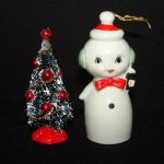 Vintage Snowman SnowGirl Bell Figurine w christmas Tree