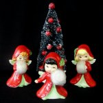 3 Vintage Lefton ANGEL GIRL Figurines with Muffs and Holly
