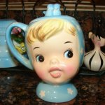 Napco Miss Cutie Pie Girl Sugar or Jam Jar in Blue