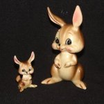 Vintage Josef Originals Brown Bunny and Baby