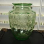 Vintage Princess Green Depression Glass Vase