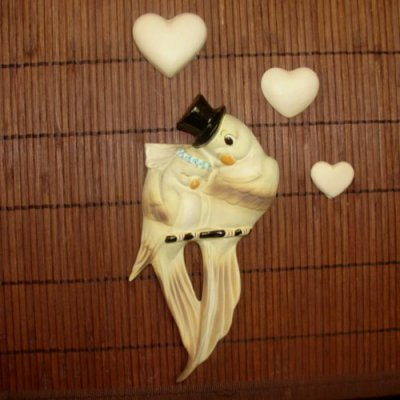 Vintage Freeman McFarlin Bride Groom Lovebirds Wall Plaques