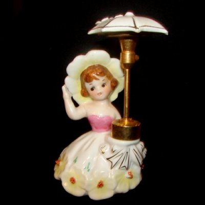 Vintage DEV Devilbiss Lady Perfume Bottle Girl w Umbrella