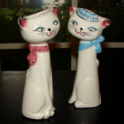 Vintage John Buck British Holt Howard Cozy Kitten Vases