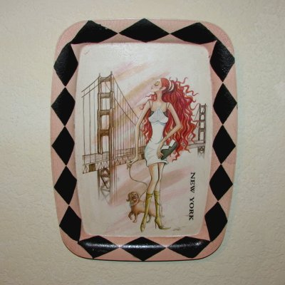 Vintage NEW YORK Pin Up Girl Wall Plaque Hanging PINK/BLACK